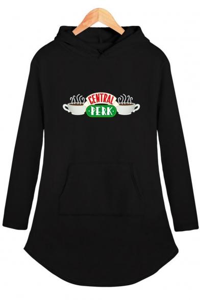 Central Perk Funny Cup Print Loose Fit Long Sleeve Longline Hoodie