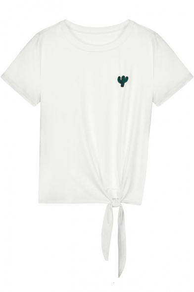 Simple Cactus Embroidered Round Neck Short Sleeve Tied Side Cotton White T-Shirt