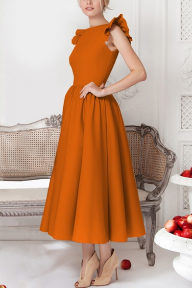 Stylish Simple Plain Ruffled Sleeve Round Neck Womens Maxi Fit and Flared Evening Dress