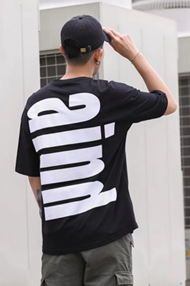 Summer Guys Fashion Simple Letter AIND Pattern Oversized T-Shirt