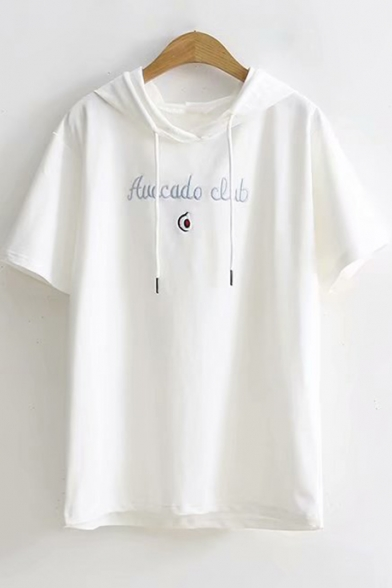 Summer Simple Letter Fruits Embroidered Short Sleeve Drawstring Hooded Casual T-Shirt