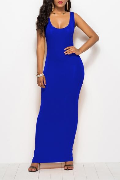 Womens New Fashion Simple Plain Scoop Neck Sleeveless Maxi Bodycon Tank Dress