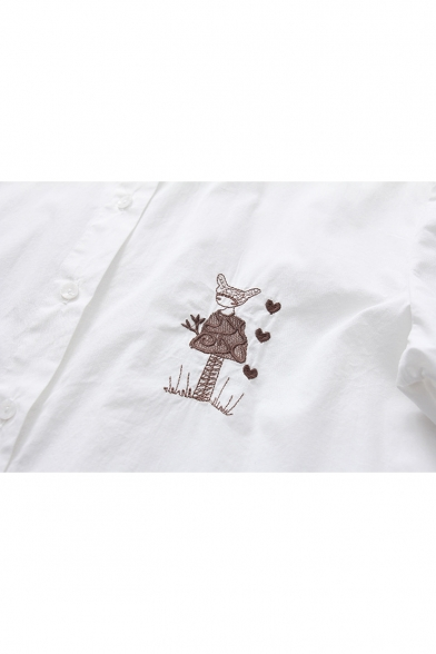 Cute Cartoon Girl Embroidered Summer Relaxed Long Sleeve White Cotton Shirt