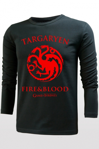 Game of Thrones Fire&Blood Dragon Logo Print Round Neck Long Sleeve Fitted T-Shirt