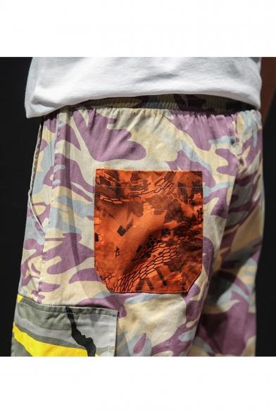 Guys Street Fashion Camo Printed Drawstring Waist Loose Fit Summer Cargo Shorts
