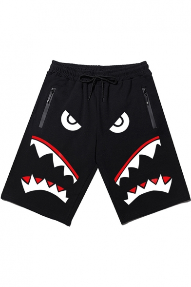 Guys Street Style Shark Printed Zip-Pocket Drawstring Waist Loose Sport Running Sweat Shorts