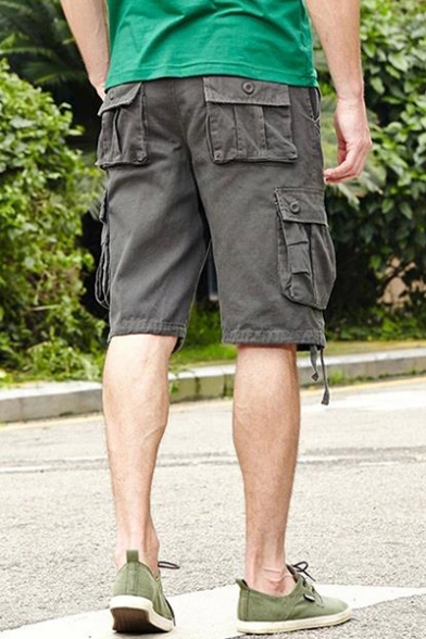 Guys Summer Outdoor Fashion Simple Plain Cotton Unique Ribbon Detail Military Cargo Shorts