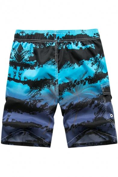 Holiday Beach Fashion Printed Drawstring Waist Mens Summer Swim Shorts