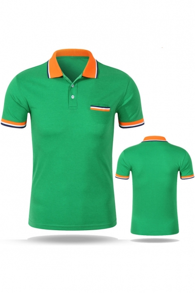 Men's Fashion Contrast Tipped Trim Short Sleeve Cotton Work Polo Shirt