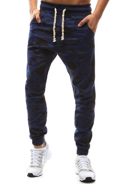 Mens Cool Fashion Camouflage Printed Drawstring Waist Casual Fitted Joggers Track Pants