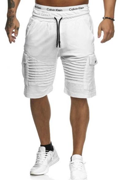Mens Drawstring Waist Basic Simple Plain Flap Pocket Side Pleated Detail Training Cargo Shorts
