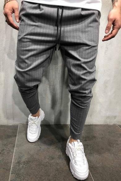 Mens Fashion Drawstring Waist Stripe Printed Skinny Sports Trousers Dress Suit Pants