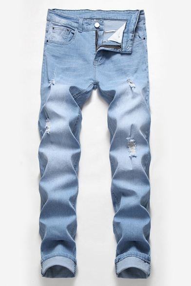New Fashion Simple Plain Stretch Relaxed Fit Ripped Jeans for Guys