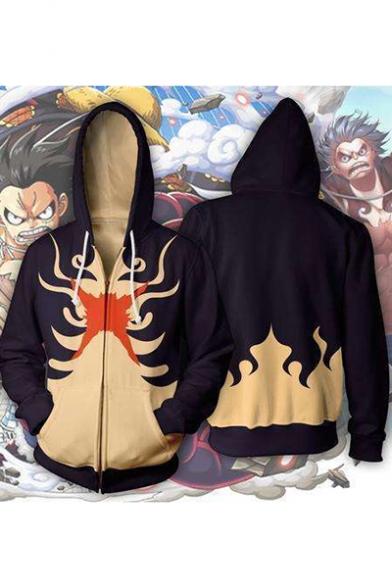 Comic 3D Pattern Long Sleeve Full Zip Loose Fit Black Hoodie