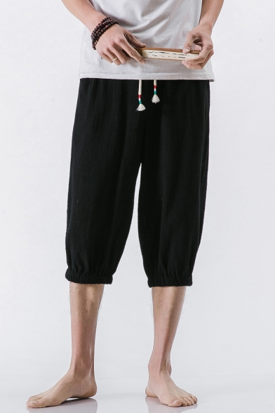 99b0800d7 ... Retro Chinese Style Summer Beach Simple Plain Cropped Loose Linen Pants  for Men ...