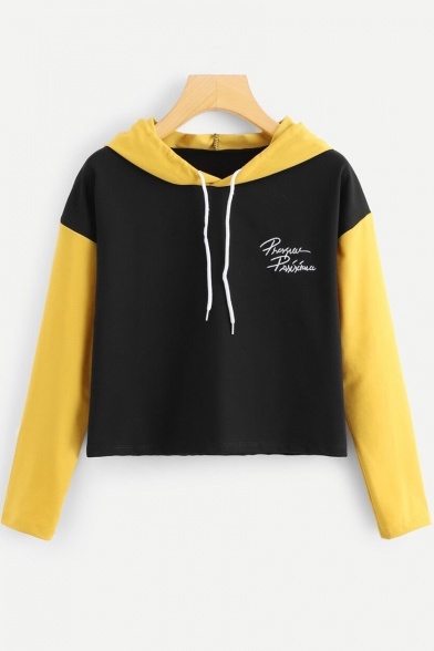 Simple Letter Chest Stylish Colorblock Long Sleeve Casual Cropped Black Hoodie