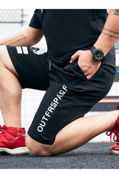 Street Fashion Letter OUTFRSPACF Print Drawstring Waist Cotton Loose Relaxed Black Shorts for Guys