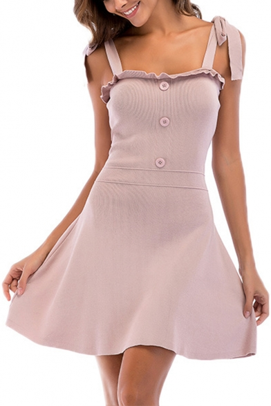 Stylish Bow-Tied Strap Simple Plain Button Front Mini A-Line Cami Knit Dress