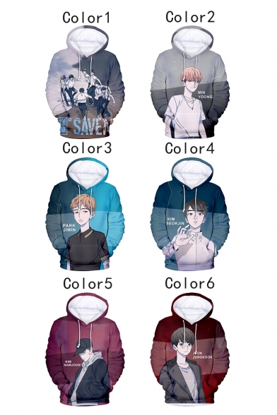 Boy Band Comic Character 3D Letter Printed Long Sleeve Sport Relaxed Fit Pullover Unisex Hoodie
