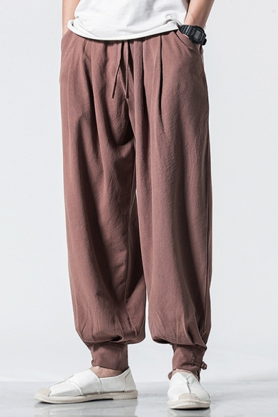 Chinese Style Summer New Trendy Plain Gathered-Cuff Casual Loose Carrot-Fit Bloomers Pants for Men