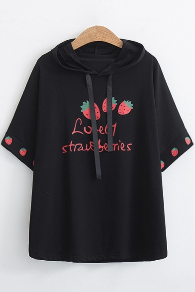 Cute Strawberry Letter Print Short Sleeve Casual Hooded Cotton T-Shirt