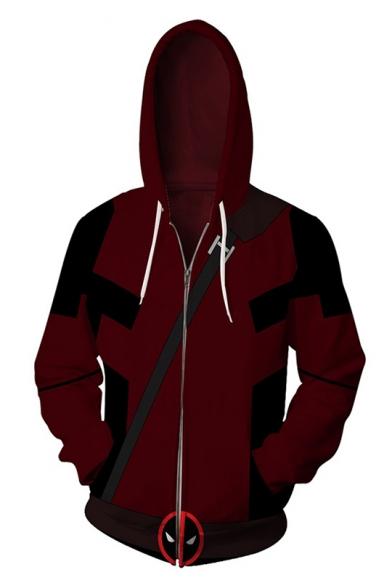 3D Printed Long Sleeve Sport Casual Full Zip Red Drawstring Hoodie