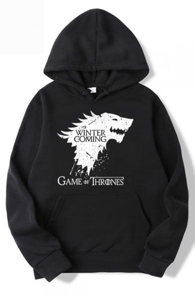 Game of Thrones Wolf Head Printed Fashion Casual Loose Pullover Hoodie