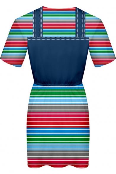 Good Guys Chucky Fashion 3D Printed Round Neck Short Sleeve Blue Mini A-Line T-Shirt Dress
