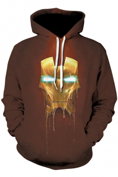 Iron Man New Stylish 3D Mask Printed Unisex Sport Loose Brown Drawstring Hoodie
