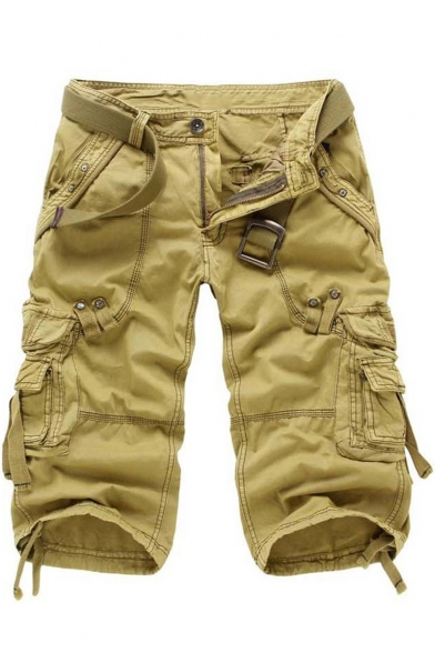 Men's Cool Simple Plain Outdoor Washed Color Ribbon Detail Casual Loose Cargo Shorts