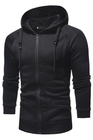 60f1b5c20 Men's New Trendy Simple Plain Long Sleeve Slim Fit Zip Up Drawstring