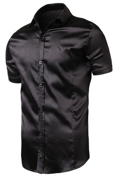 Men's Simple Plain Fashion Satin Silk Short Sleeve Button-Up Slim Business Shirt