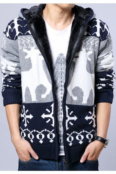 Мужская зимняя мода трехцветный олень печатных длинным рукавом с капюшоном молнии флис кардиган