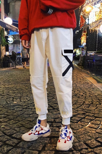Mens Cool Unique Tape Patched Pocket Elastic Cuff Cotton Tapered Pants
