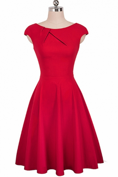 Retro Round Neck Solid Color Midi A-Line Flared Dress for Women