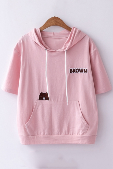 Simple Letter BROWN Bear Embroidery Short Sleeve Drawstring Hooded Cotton T-Shirt