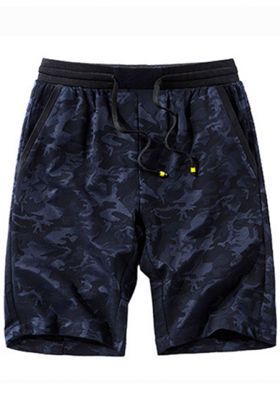 Summer New Fashion Camo Printed Drawstring Waist Casual Loose Sport Active Shorts for Men