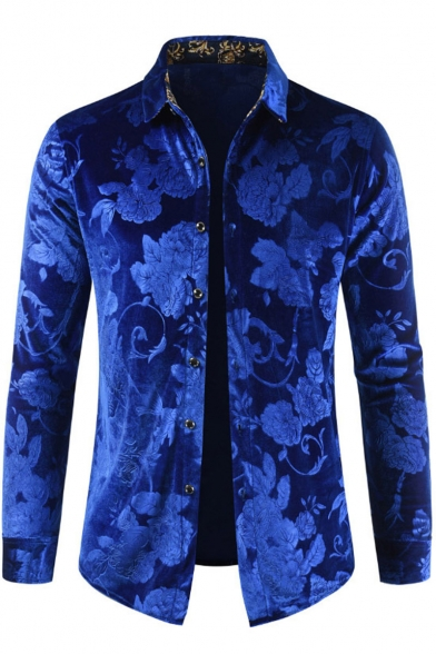 Unique Fashion Floral Jacquard Velvet Men's Long Sleeve Button-Up Party Shirt