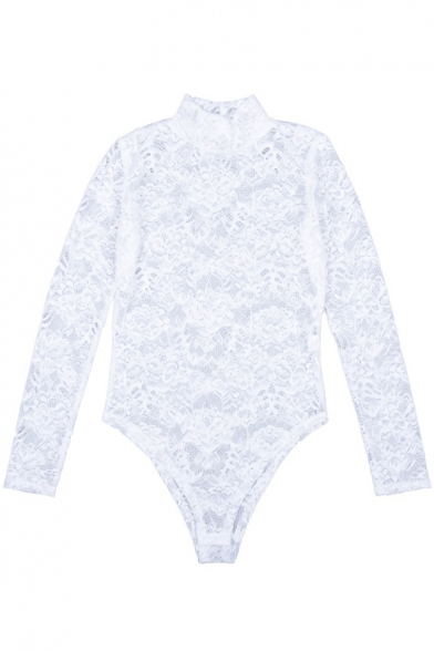 Women's Mock Neck Long Sleeve Slim Fit White Hollow Out Lace Bodysuit