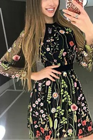 Womens New Fashion Floral Embroidery Round Neck Long Sleeve Sheer Mesh-Panelled Mini A-Line Dress