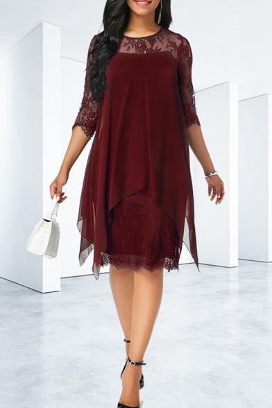 Womens Summer Three-Quarter Sleeve Round Neck Asymmetric Hem Midi Chiffon Dress