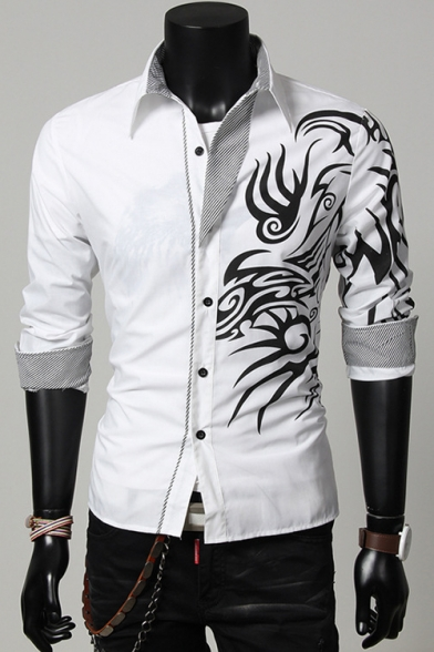 Chinese Style Dragon Grain Print Side Spread Collar Long Sleeve Fitted Button-Up Shirt for Men