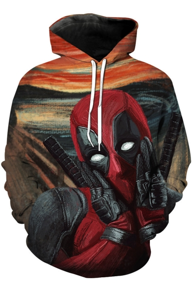 Funny Cute Comic Character Oil Painting Print Casual Loose Hoodie