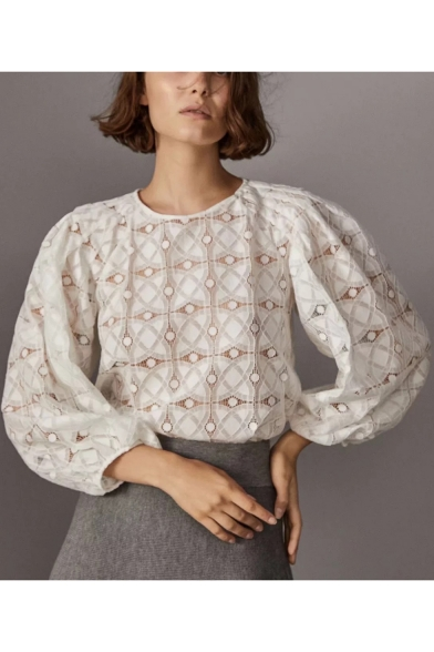 Elegant Lace Panel Round Neck Long Balloon Sleeves Geometric Pattern Loose Blouse