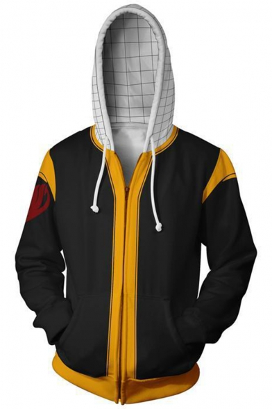 Fairy Tail 3D Comic Print Long Sleeve Colorblock Casual Zip Up Hoodie