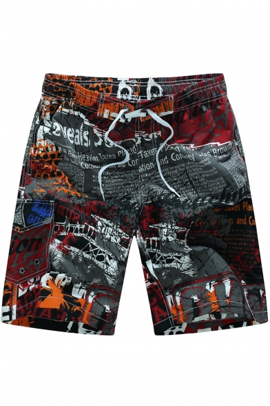 Fashion Summer Letter Pattern Loose Swim Board Shorts with Cargo Side Pockets
