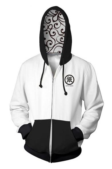 Gin Tama Gintoki Sakata Stylish 3D Printed Cosplay Costume Zip Up White Hoodie