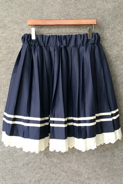 Girls Fashion Lace-Trimmed Elastic Waist Mini A-Line Pleated Navy Skirt