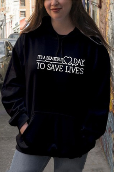 Hot Long Sleeve Heart Letter A BEAUTIFUL DAY Printed Casual Hoodie, Black;pink, LC495280
