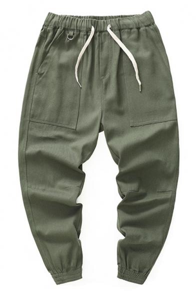 Men's Casual Simple Plain Drawstring-Waist Gathered Cuff Cotton Loose Sport Pants